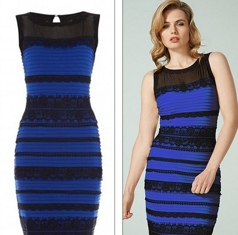 Vestido azul e preto ciencia